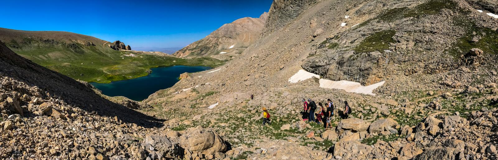 Panoramic view of Bolkar Mountain and Taurus Mountain, Nigde, Turkey. Volcanic crater lake, ` `black lake.  stock illustration