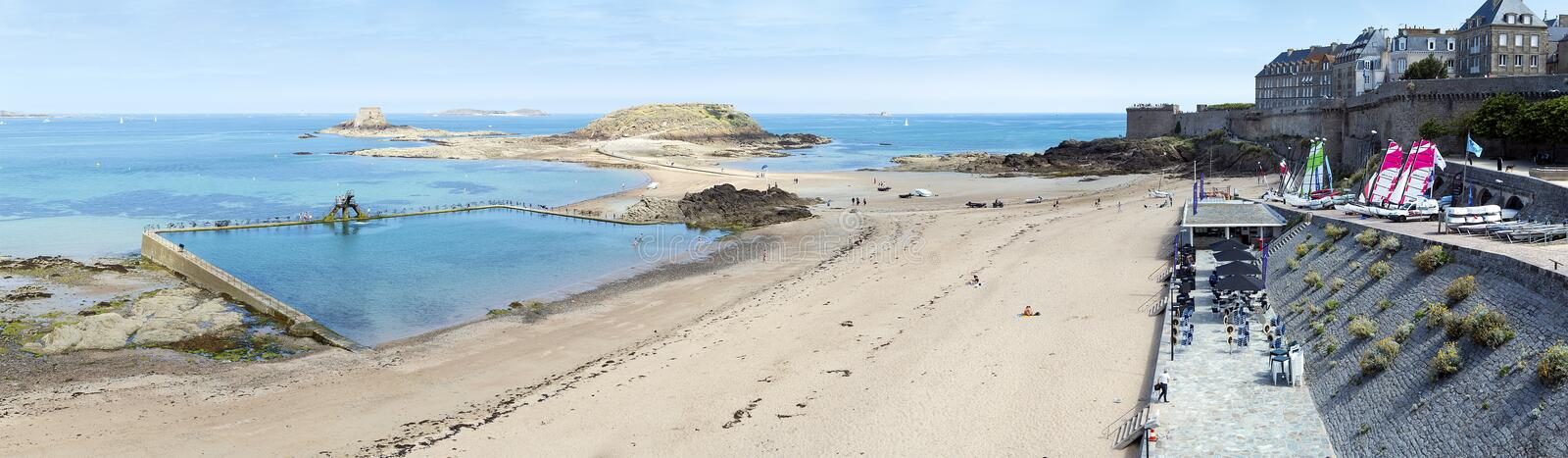 Panoramic view of Bon Secours Beach in Saint-Malo stock image