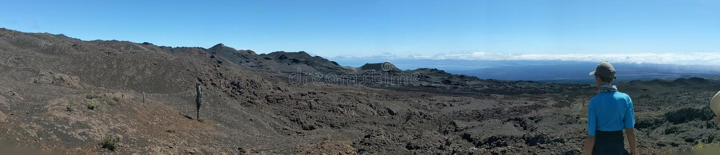 Volcano rim in the galapagos stock photos