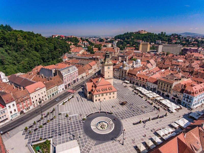 Panoramic view of Brasov main square stock photos