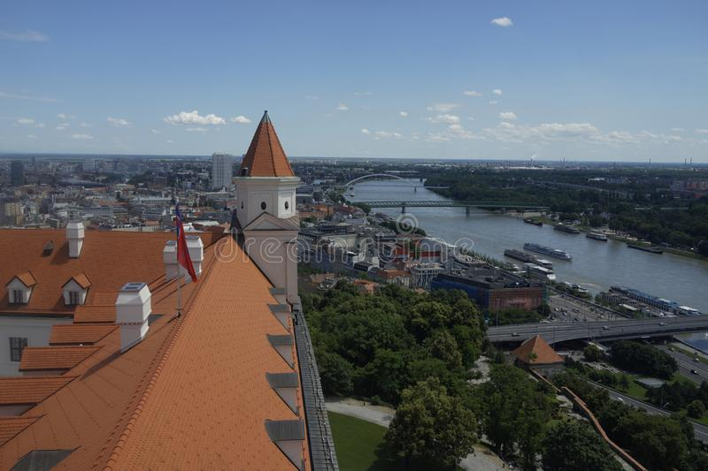 Panoramic view of Bratislava and castle roof stock photography