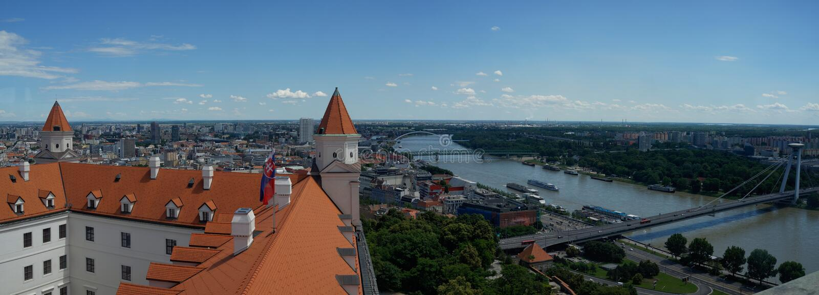 Panoramic view of Bratislava and castle roof royalty free stock photography
