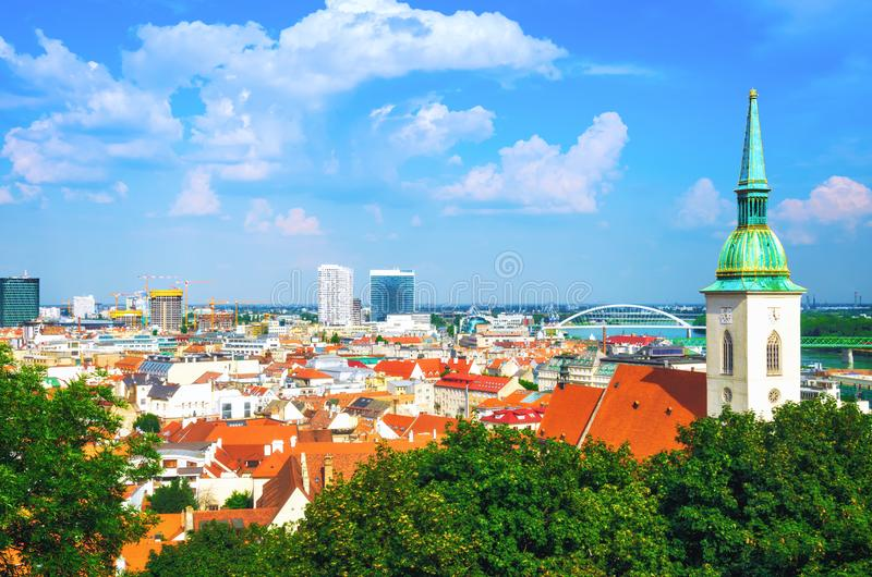 Panoramic view of Bratislava old town stock photography