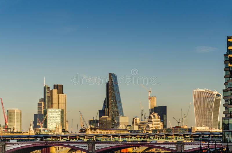 panoramic view of the bridge and skyscrapers in London, a beautiful sunny day stock photography