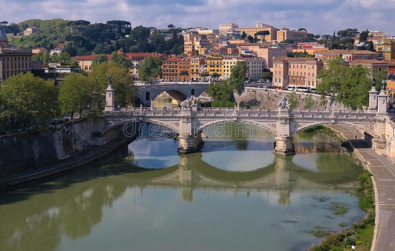 The view of bridge Umberto and cityscape of Rome, Italy. royalty free stock photography