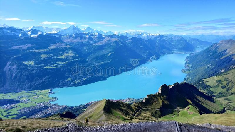 Panoramic view of Brienz and the stunning view of mountain range in a beautiful day, Switzerland. Panoramic view of Brienz and the stunning view of mountain stock photography