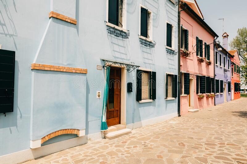 Panoramic view of brightly coloured homes of Burano royalty free stock photography