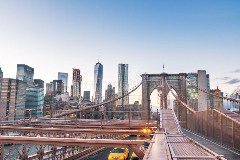 Panoramic View of Brooklyn Bridge traffic and Manhattan skyline - New York, USA stock image