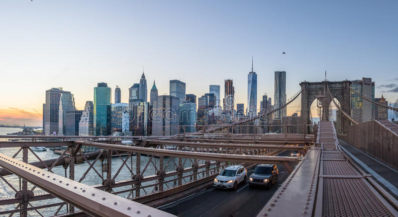 Panoramic View of Brooklyn Bridge traffic and Manhattan skyline - New York, USA royalty free stock images