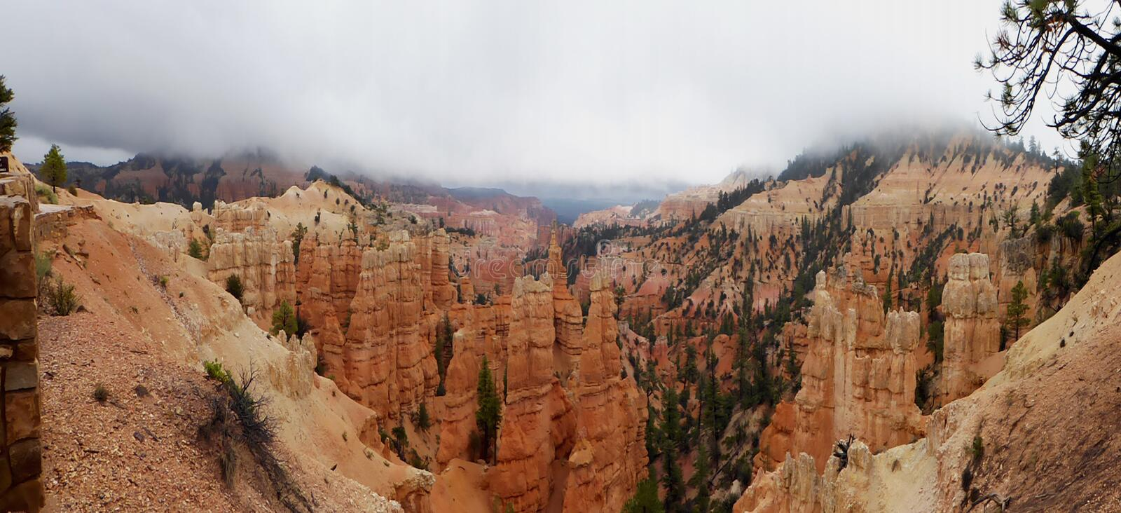 Panoramic view into Bryce Canyon in Utah stock photos