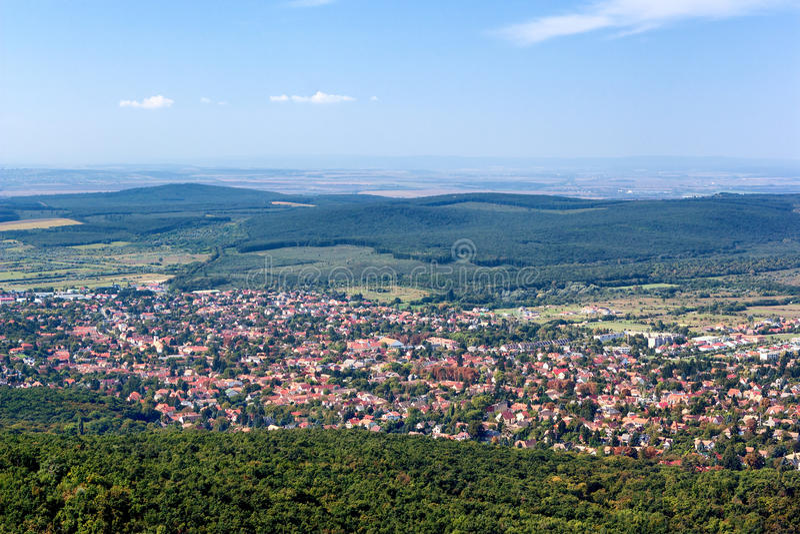 Panoramic view of Budakeszi, Hungary. Panoramic, bird's eye view of Budakeszi, Hungary - with lots of copy space royalty free stock photography