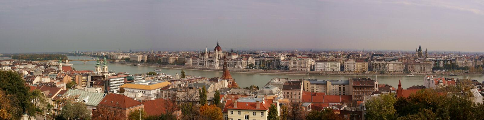 Panoramic view of Budapest and Danube river. Panoramic view of Budapest and the Danube river on a clear day. Photograph in which the Hungarian National stock photography