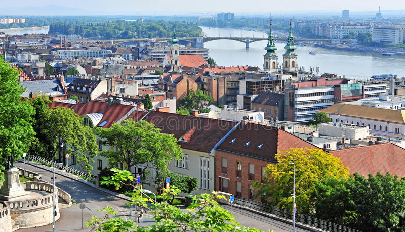 Panoramic view of Budapest old town royalty free stock images