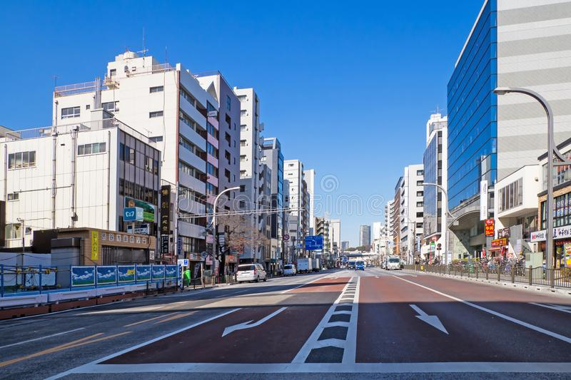 Panoramic view of Buildings and street in Asakusa area, This is a famous place in Tokyo,Japan stock photo