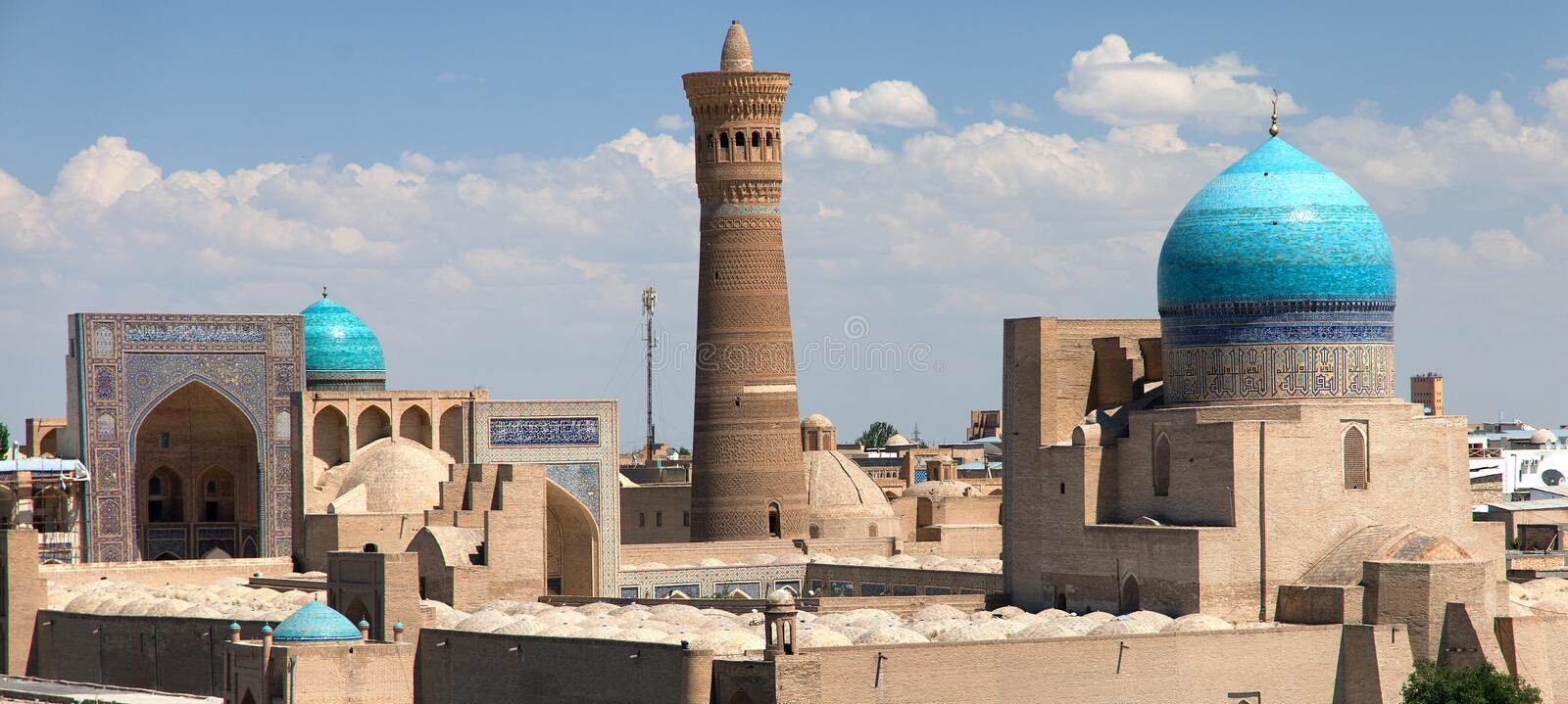 Panoramic view of bukhara from Ark. Uzbekistan stock photo