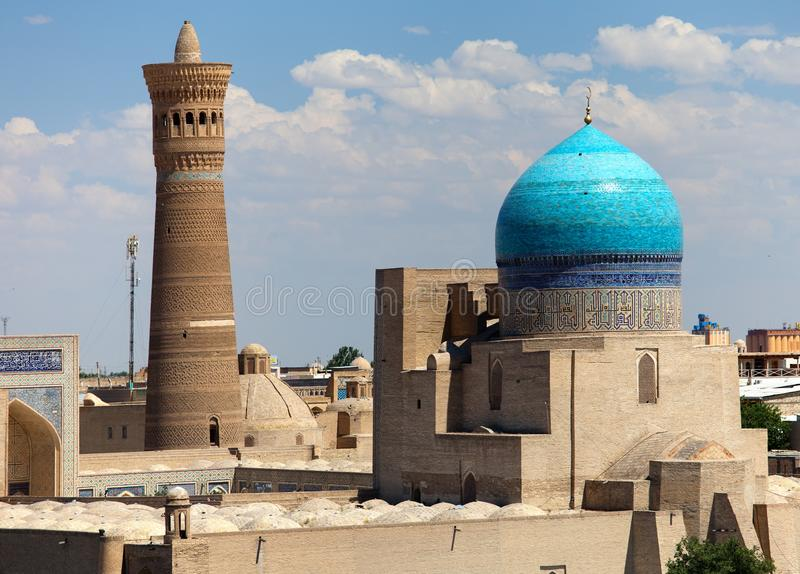 Panoramic view of bukhara from Ark. Uzbekistan royalty free stock images