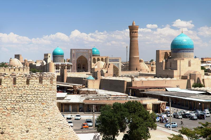Panoramic view of bukhara from Ark. Uzbekistan royalty free stock photo