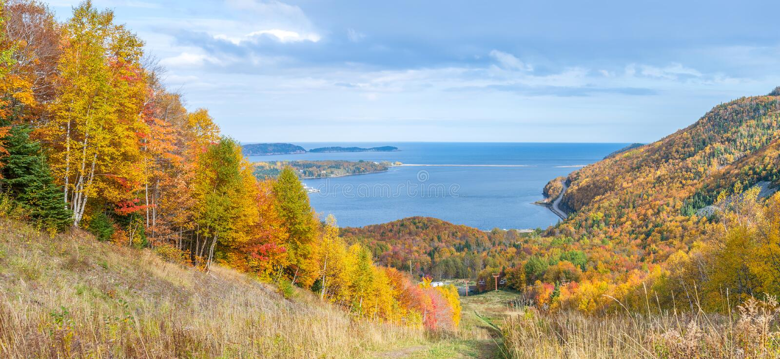 Panoramic view of Cabot Trail in the fall. (Cape Breton, Nova Scotia, Canada royalty free stock image