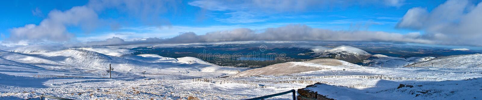 Cairngorm mountains panoramic view in winter royalty free stock photography