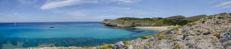 Panoramic view of Cala Torta beach on the island of Majorca, Spain. Europe. Balearic Islands. Sailboat stock photo