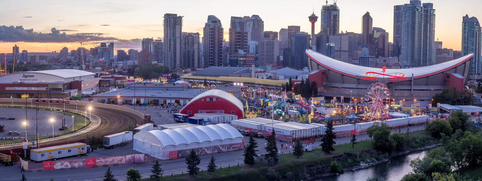 Panoramic view of the the Calgary Stampede at sunset stock photo