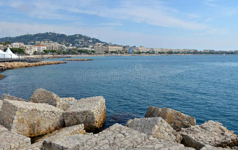 Panoramic View of Cannes , Cote d`azur, Provence France stock photo
