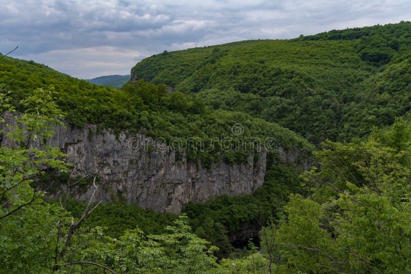 Panoramic view of canyon of Dryanovo river near.Monastery St. Archangel Michael, Gabrovo region, Bulgaria stock photo