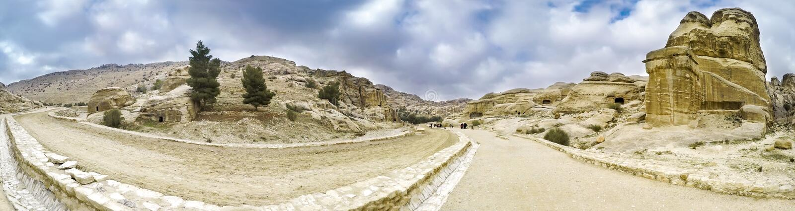 Panoramic view of canyon in Petra royalty free stock photo