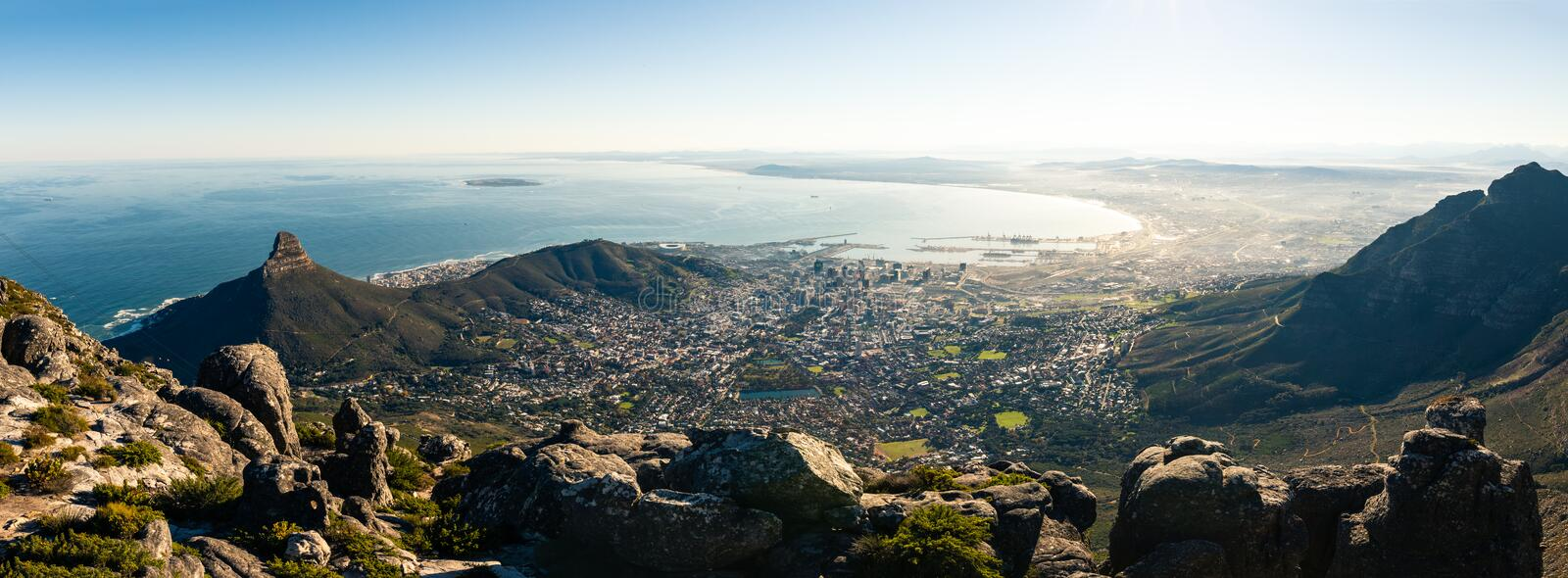 Panoramic view on Capetown stock image