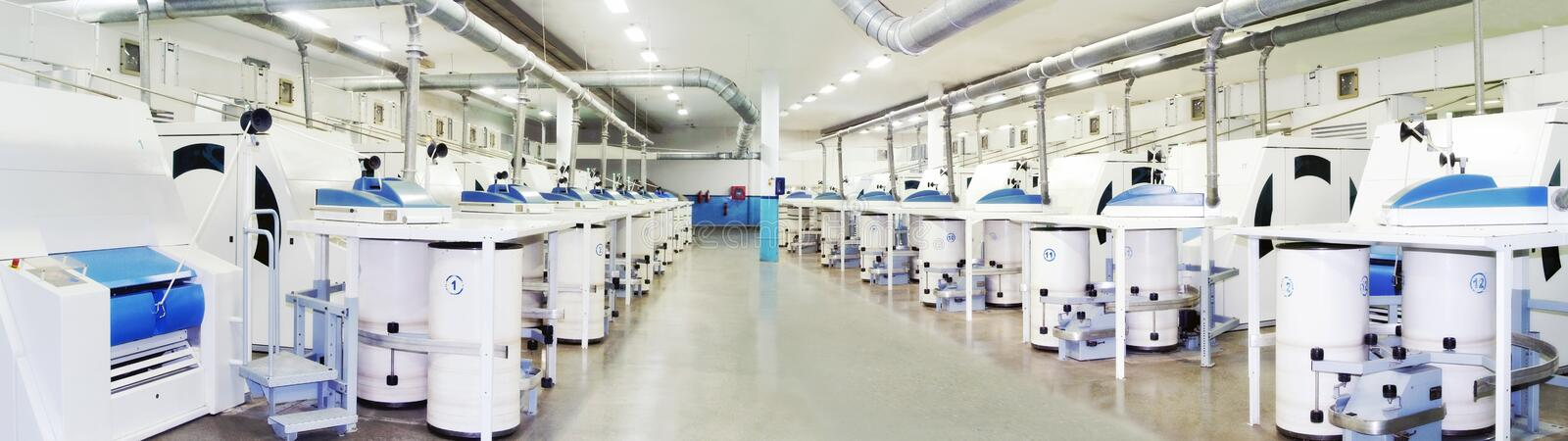 Panoramic view of Carding Department. Cotton spinning preparatory machines in Carding Department, Textile Industry royalty free stock photo