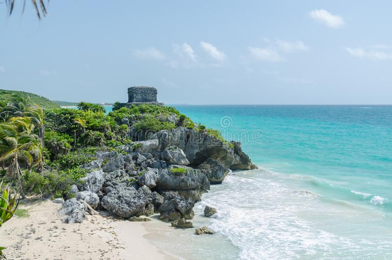 Panoramic view of Caribbean beach and Mayan Ruins of Tulum, Riviera Maya, Mexico royalty free stock photo