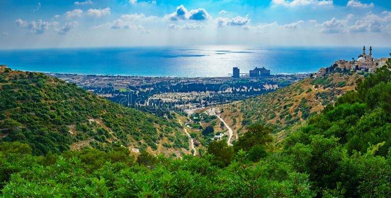 Panorama of Carmel coast, Siach valley and  Mahmud mosque, Haifa. Panoramic view of the Carmel coast, Siach valley and the Ahmadiyya Shaykh Mahmud mosque, in stock photography