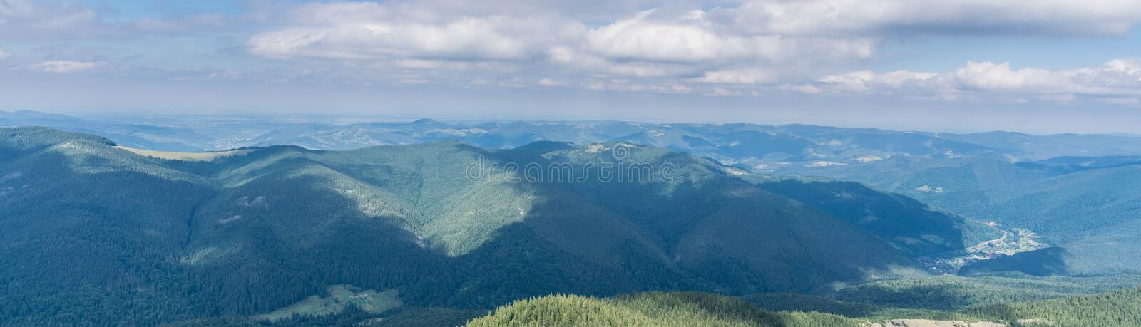 Panoramic view of the Carpathian Mountains, Eastern Europe stock images