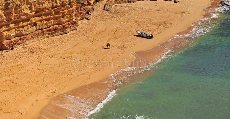 Panoramic view of Carvoeiro sand beach stock photo