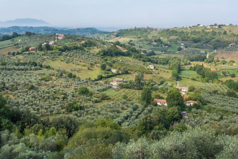 Panoramic view from Casperia, medieval rural village in Rieti Province, Lazio Italy. Casperia is a comune in the Province of Rieti in the Italian region Latium stock photography