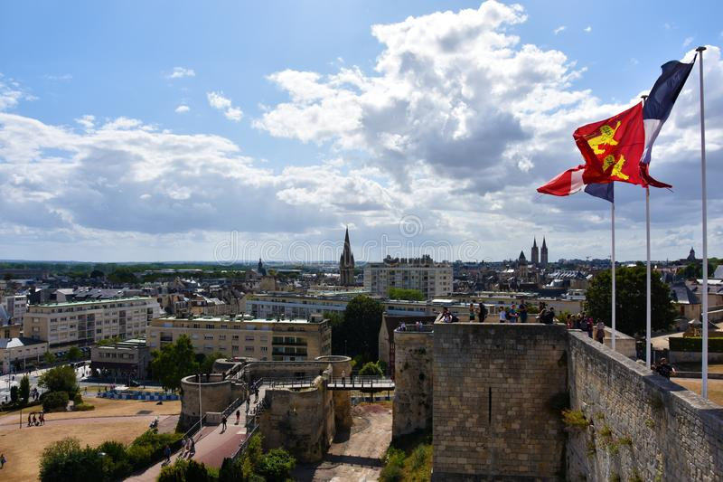 Panoramic view from castle in Caen over the city stock photo