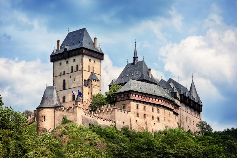 Panoramic view of castle Karlstejn, Czech Republic. Panorama of royal castle Karlstejn, Czech Republic royalty free stock images