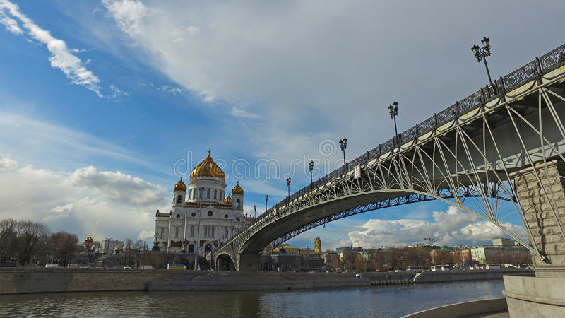 Panoramic view of the Cathedral of Christ the Savior and Patriarch Bridge, Moscow, Russia stock photography