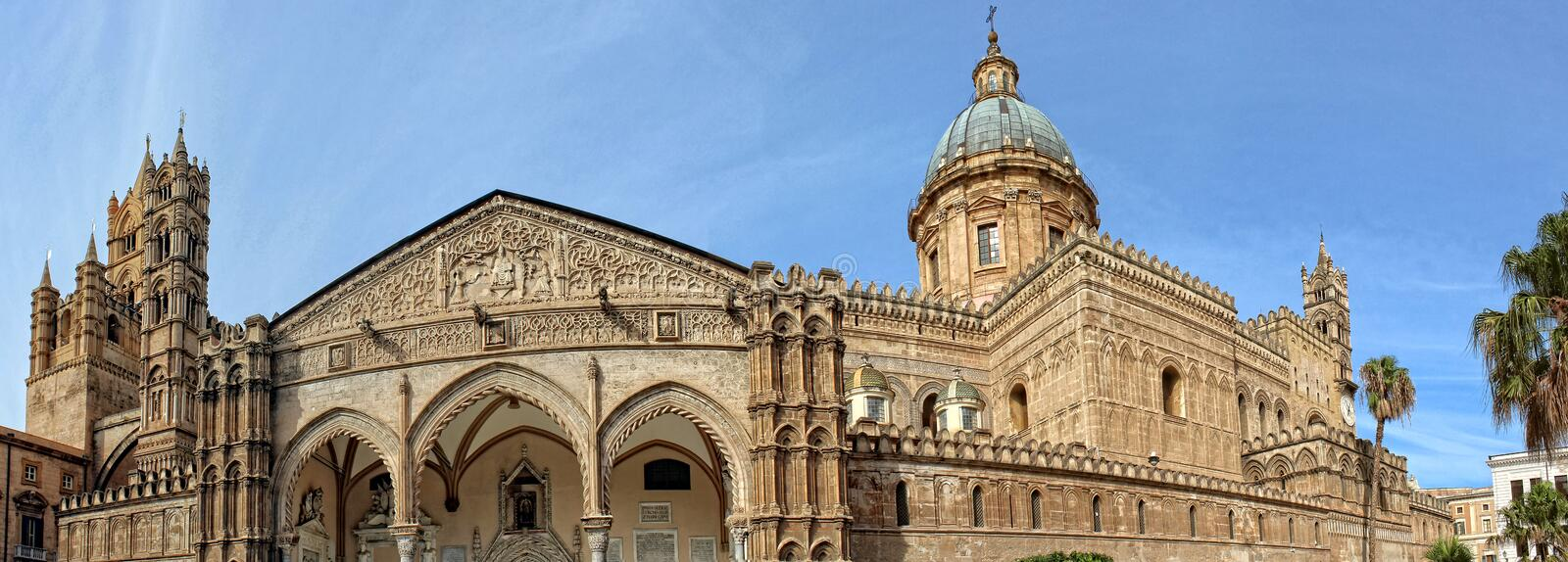 A panoramic view of the Cathedral of Palermo. This photo is the result of the union of four shots. The Cathedral of Palermo is part of the Unesco world heritage royalty free stock images