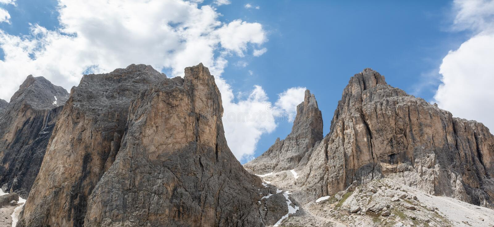 Panoramic view of Catinaccio mountain and Vajolet Towers. Dolomites, Italy royalty free stock photography