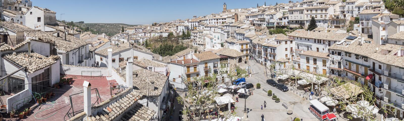 Panoramic view of Cazorla village, in the Sierra de Cazorla, Jaen, Spain. Panoramic view of Cazorla village, in the Sierra de Cazorla, Segura and the Villas stock photography