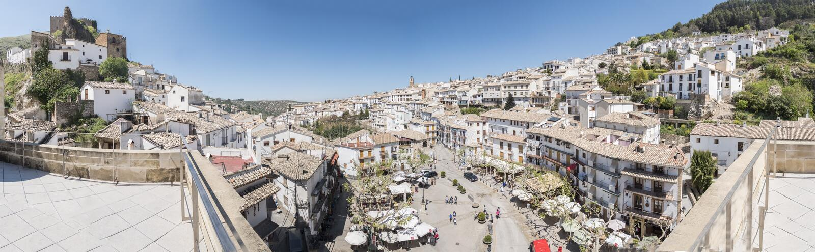 Panoramic view of Cazorla village, in the Sierra de Cazorla, Jaen, Spain. Panoramic view of Cazorla village, in the Sierra de Cazorla, Segura and the Villas stock image