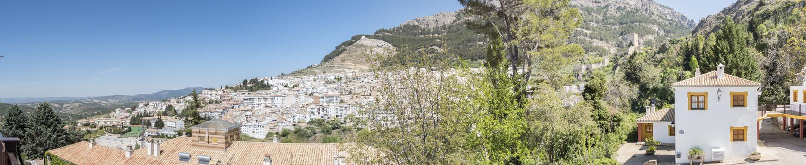 Panoramic view of Cazorla village, in the Sierra de Cazorla, Jaen, Spain royalty free stock photography