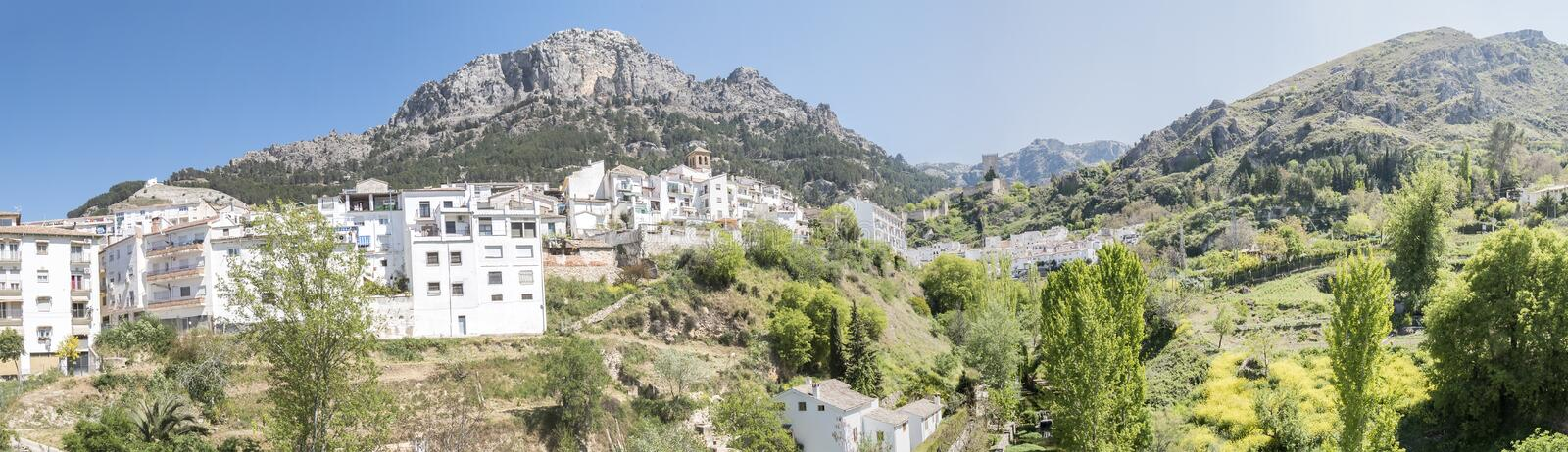 Panoramic view of Cazorla village, in the Sierra de Cazorla, Jaen, Spain royalty free stock photos