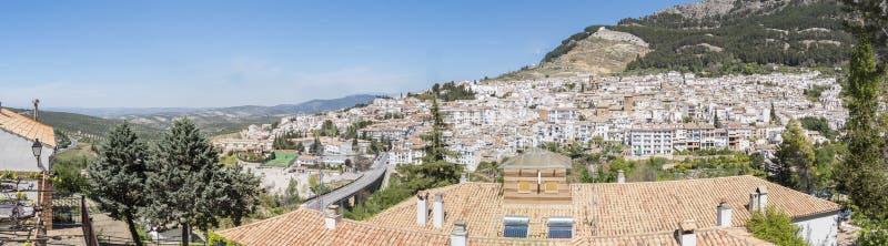 Panoramic view of Cazorla village, in the Sierra de Cazorla, Jaen, Spain. Panoramic view of Cazorla village, in the Sierra de Cazorla, Segura and the Villas stock photo