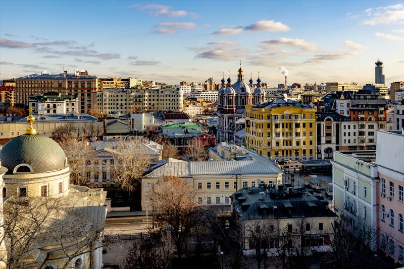 Panoramic view of the center of Moscow streets and houses from a bird`s flight on a clear winter day royalty free stock photos
