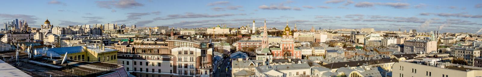 Panoramic view of the center of Moscow streets and houses from a bird`s flight on a clear winter day stock photos