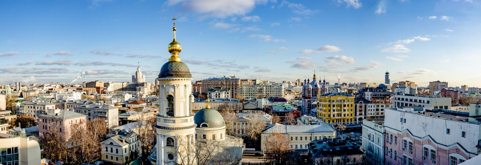 Panoramic view of the center of Moscow streets and houses from a bird`s flight on a clear winter day royalty free stock photo
