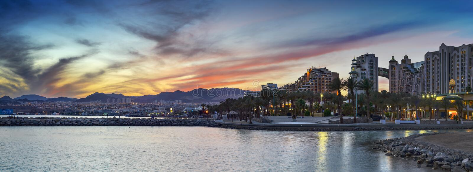 Panoramic view on the central beach of Eilat, Israel. Eilat is a famous resort and recreation city in Israel royalty free stock photography