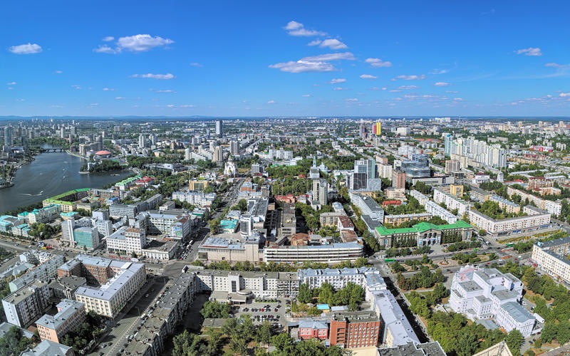 Panoramic view of the central and northern parts of Yekaterinburg, Russia. View from the observation deck on the 52nd floor of Vysotsky skyscraper at 186 stock photography